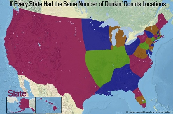 what the united states would look like if state borders were based on dunkin donuts density