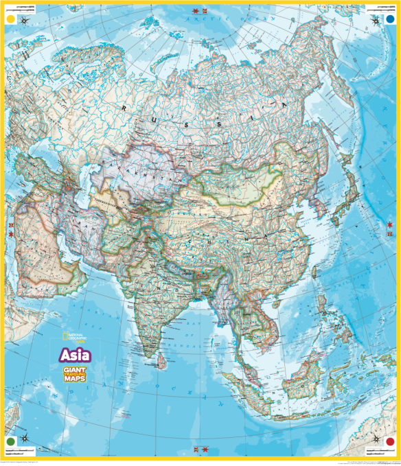 Map Of Asia For Students.2017 Giant Asia Map Rhode Island Geography Education Alliance